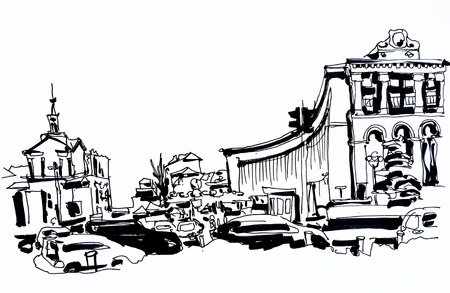 famous place: sketch marker drawing of Khreshchatyk the main street of the Ukrainian capital, famous place Maidan Nesalegnosty, black and white sketching for postcard or travel book illustration