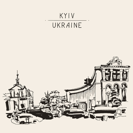 maidan: sketch marker drawing of Khreshchatyk the main street of the Ukrainian capital, famous place Maidan Nesalegnosty, sketching for postcard or travel book vector illustration