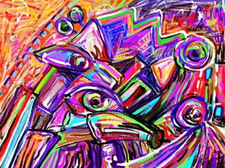 artwork painting: original digital painting of abstraction composition, you can use this artwork print in interior, fabric design, page decoration, packing, art book and other