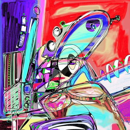 digital abstract: original illustration of abstract art digital painting, vector illustration