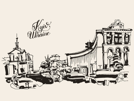 famous place: sketch marker drawing of Khreshchatyk the main street of the Ukrainian capital, famous place Maidan Nesalegnosty, sketching for postcard or travel book vector illustration