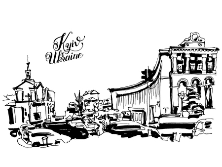 maidan: sketch marker drawing of Khreshchatyk the main street of the Ukrainian capital, famous place Maidan Nesalegnosty, black and white sketching for postcard or travel book vector illustration Illustration