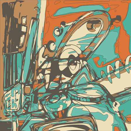 composition book: original digital painting of abstraction composition, you can use this artwork print in interior, fabric design, page decoration, packing, art book and other, vector illustration