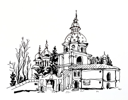 black and white sketch drawing of Vydubychi monastery in Kyiv Ukraine, sketching for postcard or travel book illustration