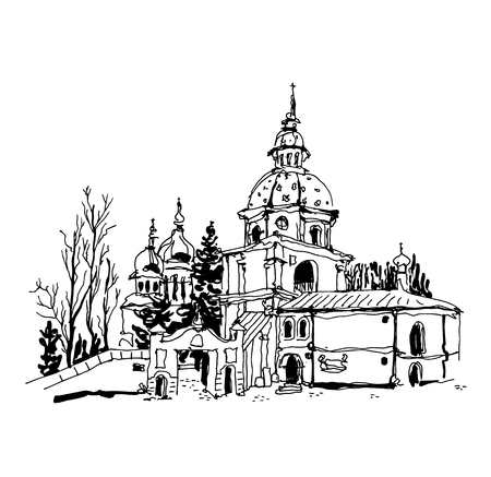 monastery: black and white sketch drawing of Vydubychi monastery in Kyiv Ukraine, sketching for postcard or travel book vector illustration