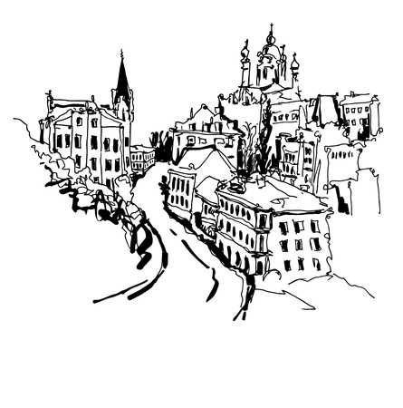 black and white sketch drawing of Andrews descent - one of the most popular places in Kyiv Ukraine, vector illustration