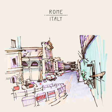 sketch drawing: marker drawing of Rome Italy street landscape, urban sketch vector illustration Illustration