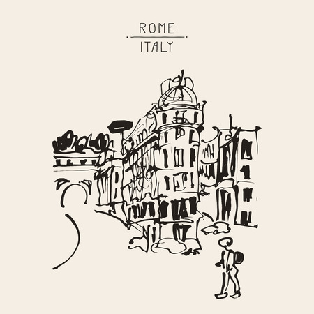 craft on marble: sketch hand drawing of Rome Italy famous cityscape, travel card, vector illustration
