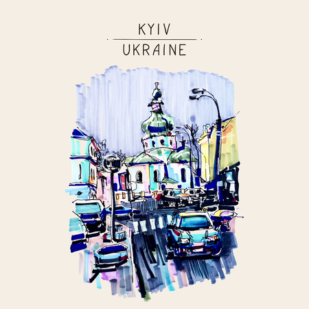 church building: original marker urban sketch on paper of Kyiv Podol landscape with church, road, cars, lantern and building, travel card vector illustration