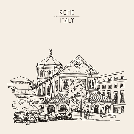 dibujos lineales: dibujo boceto de Roma paisaje urbano, Italia antiguo edificio histórico, ilustración vectorial