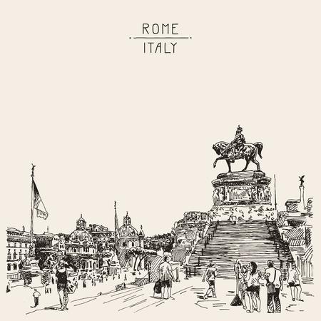 monumento: dibujo a mano esbozo de la Piazza Venezia de Roma - Altar de la Patria Italia, Vittorio Emanuele, Monumento a Víctor Emenuel II, famoso paisaje urbano, ilustración vectorial