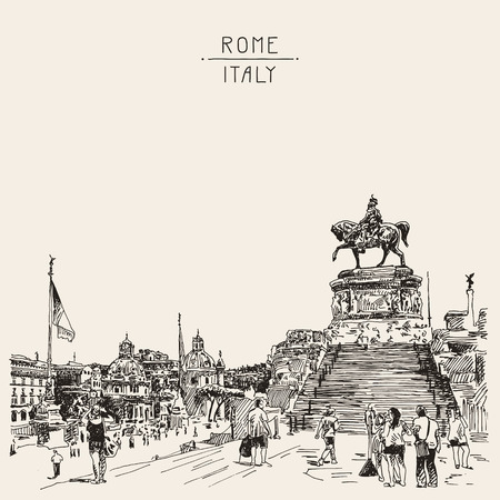 victor: sketch hand drawing of Piazza Venezia in Rome - Altar of the Fatherland Italy, Vittorio Emanuele, Monument for Victor Emenuel II, famous cityscape, vector illustration
