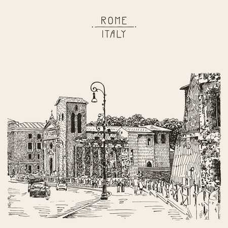 pencil drawings: original sketch hand drawing of Rome Italy famous cityscape, travel card, vector illustration Illustration