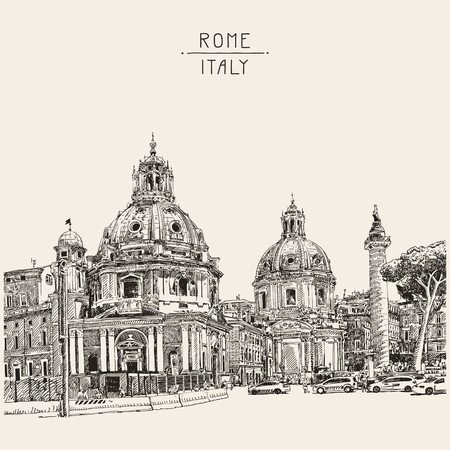 original digital drawing of Rome Italy cityscape with lettering inscription for your travel card design, basilica sketch, vector illustration Illustration