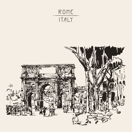 original sketch digital sepia drawing Rome Italy landmark - arch of Konstantine (Arco Constantino) with trees and travel people, vector illustration Vector Illustration