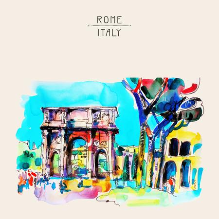 uit de vrije hand originele aquarel travel card van Rome Italië, oude Italiaanse keizerlijke gebouw, reisboek vector illustratie