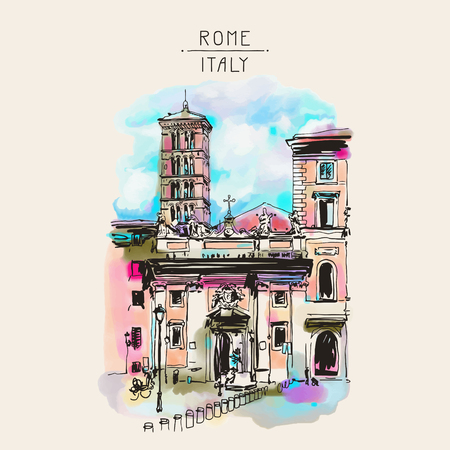 italia: original freehand watercolor travel card from Rome Italy, old italian imperial building, travel book vector illustration