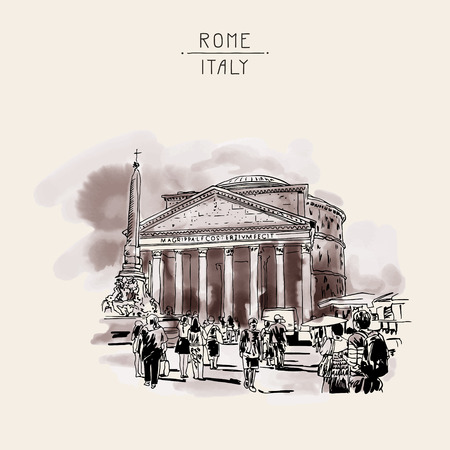 original freehand watercolor sepia travel card from Rome Italy, old italian imperial building Pantheon with people walking, travel book vector illustration 일러스트