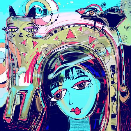 Abstrakcyjny obraz cyfrowy dziewczyny z kotem i ptakiem na głowie, kolorowy skład we współczesnej sztuce współczesnej, idealny do wystroju wnętrz, strona dekoracji, sieci i inne, ilustracji wektorowych
