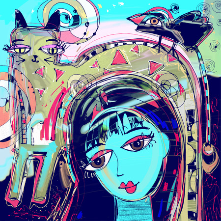 abstract digital painting of girl with a cat and bird on a head, colorful composition in contemporary modern art, perfect for interior design, page decoration, web and other, vector illustration Illustration