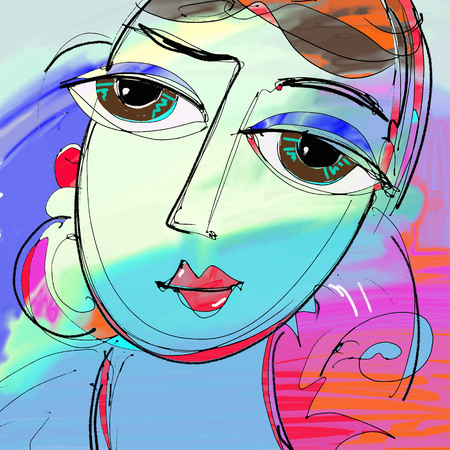 beautiful women digital painting, abstract portrait of girl with big eyes, colorful composition in contemporary modern art, perfect for interior design, page decoration or web, vector illustration