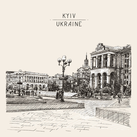 famous place: sketch digital drawing of Khreshchatyk the main street of the Ukrainian capital, famous place Maidan Nesalegnosty, sketching for postcard or travel book vector illustration Illustration