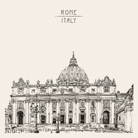 basilica: St. Peters Cathedral, Rome, Vatican, Italy. Hand drawing. Saint Pietro Basilica, vector illustration