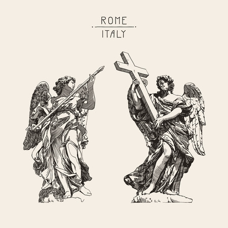 archangel: original sketch digital drawing of marble statue of two angels from the SantAngelo Bridge in Rome, Italy, vector illustration Illustration