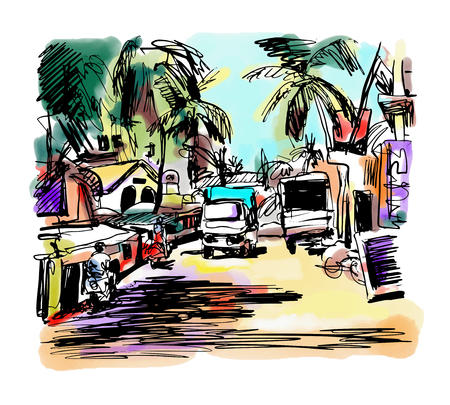painting art: original digital drawing of India Goa Calangute Baga landscape street, travel sketch, touristic postcard or poster, vector illustration