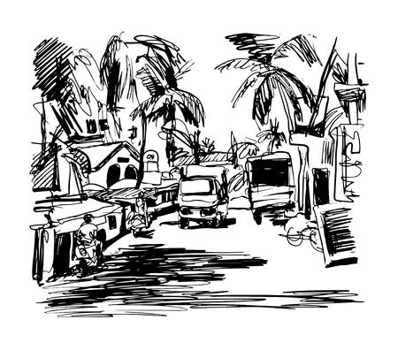 original, dibujo en blanco y negro digital de la India Goa Calangute Baga paisaje de la calle, boceto de viaje, turístico postal o cartel, ilustración vectorial