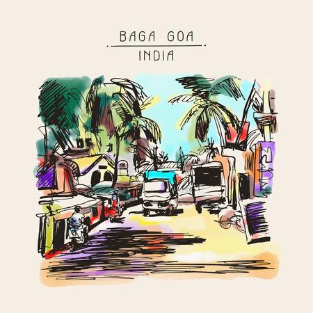 rural india: original digital drawing of India Goa Calangute Baga landscape street, travel sketch, touristic postcard or poster, vector illustration