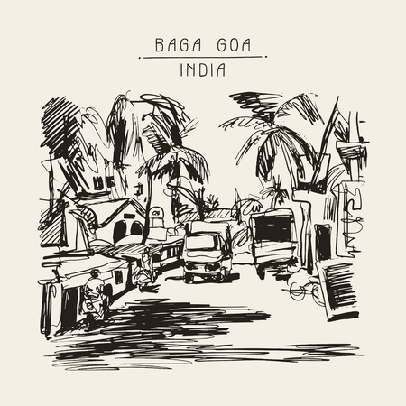 touristic: original digital drawing of India Goa Calangute Baga landscape street, travel sketch, touristic postcard or poster, vector illustration