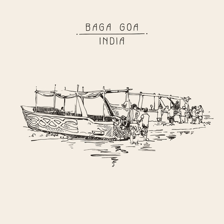 retro postcard: India Baga Beach sketch drawing with two boats ashore, retro style travel poster postcard template with hand lettering inscription, vector illustration