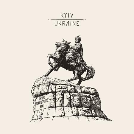 original sketchy digital drawing of historic monument of famous Ukrainian hetman Bogdan Khmelnitsky on Sofia square, Kyiv (Kiev), Ukraine, Europe, engraved style