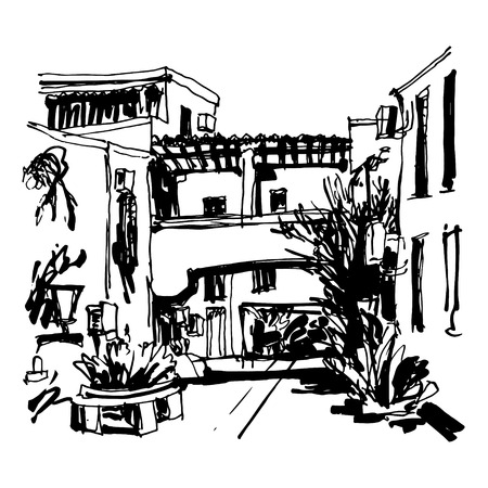 plaza: black and white sketching of street in hotel complex Slovenska Plaza in Budva Riviera Montenegro, travel vector illustration Illustration