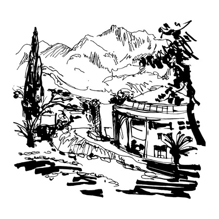 alley: black and white sketching of park alley view with trees cypress and mountain in Budva Riviera Montenegro (slovenska plaza hotel), travel vector illustration
