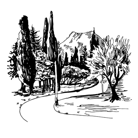 black and white sketching of park alley view with trees cypress and mountain in Budva Riviera Montenegro (slovenska plaza hotel), travel vector illustration