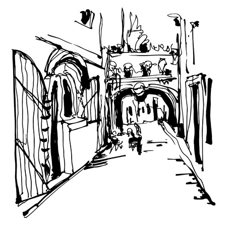 narrow street: black and white ink sketching of historic narrow cobbled street in Budva Montenegro, old town travel vector illustration Illustration
