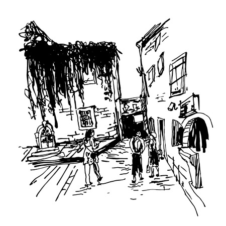 black and white sketching of old building with clambering plant and people walking in old town Budva Montenegro, travel vector illustration Illustration