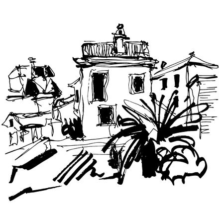 black and white sketch drawing of historical building with palm in Budva Montenegro, old town travel vector illustration