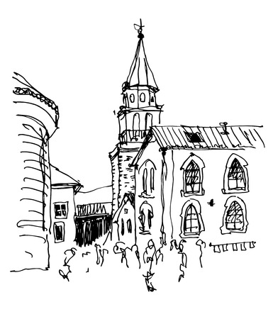 old town: sketch drawing of the bell tower church top view in old town Budva Montenegro, travel vector illustration