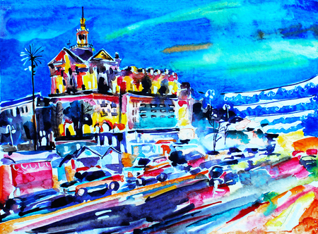 famous painting: original watercolor painting of night city Kyiv, Ukraine, famous place Maidan Nesalezhnosty, sketching for postcard or travel book raster illustration