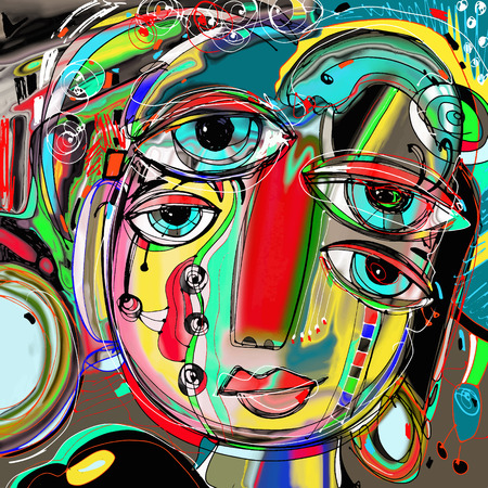 perfect face: original abstract digital painting of human face, colorful composition in contemporary modern art, perfect for interior design, page decoration, web and other, vector illustration