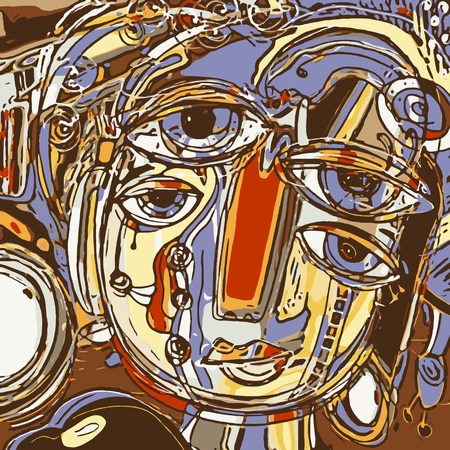 composition art: original abstract digital painting of human face, colorful composition in contemporary modern art, perfect for interior design, page decoration, web and other, vector illustration