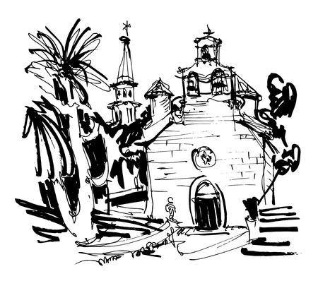 ink drawing: ink drawing of historic church in with palm in Budva Montenegro, old town travel vector illustration