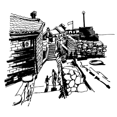 black history: original black and white ink sketch drawing of ancient fort in Petrovac Montenegro, Balkans, Adriatic sea, Europe, travel vector illustration