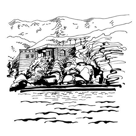 sveti: original black and white sketch drawing of Sveti Stefan island in Montenegro, Balkans, Adriatic sea, Europe, travel vector illustration