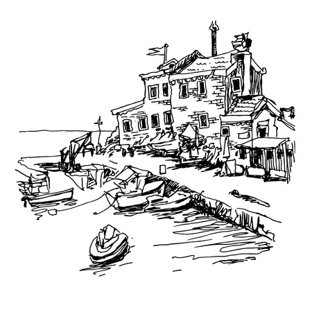 black and white sketch drawing of historical fort Petrovac Montenegro, travel vector illustration
