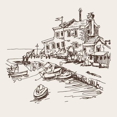 original sketch drawing of historical fort Petrovac Montenegro, travel vector illustration