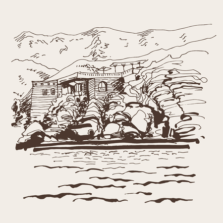 original sepia sketch drawing of Sveti Stefan island in Montenegro, Balkans, Adriatic sea, Europe, travel vector illustration Illustration